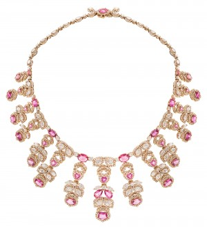 Marquise shape pink sapphire necklace