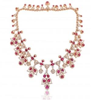 Multi shape ruby diamond necklace