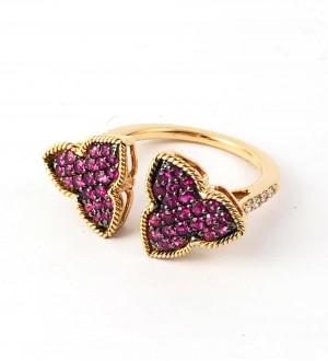 double iris ring,Ruby