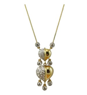 Insignia Double feather pendant, YELLOW gold and Diamonds