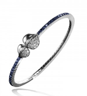INSIGNIA DOUBLE FEATHER MAGNETIC BRACELET, DIAMONDS AND  sapphire