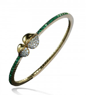 INSIGNIA DOUBLE FEATHER MAGNETIC BRACELET, DIAMONDS AND EMERALD