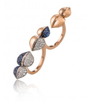 Insignia Blue Sapphire two finger ring