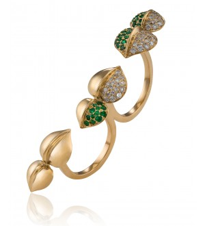 INSIGNIA EMERALD TWO FINGER RING