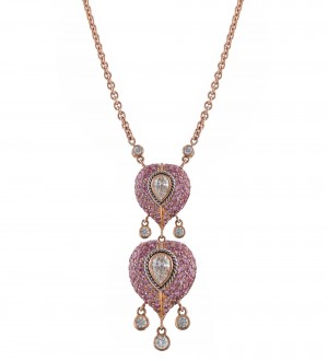 INSIGNIA DOUBLE PEAR PENDANT, PINK SAPPHIRE