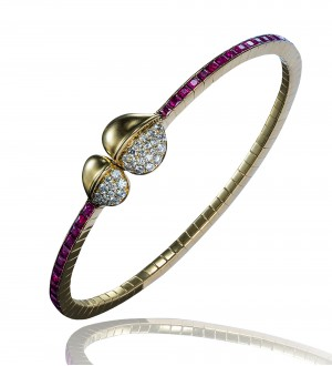 INSIGNIA DOUBLE FEATHER MAGNETIC BRACELET, DIAMONDS AND RUBY