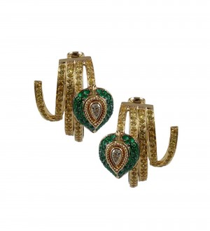 Insignia Feather Hoops, Emerald and Yellow sapphires
