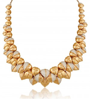 Pink gold with white diamond necklace