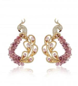 Signature peacock earrings- Brown sapphires