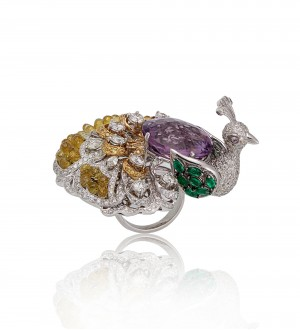 Peacock plume ring