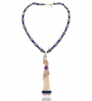Tahatian pearl with Blue sapphire beads