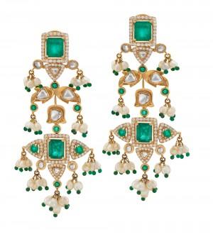 Green Polki Diamonds Earrings