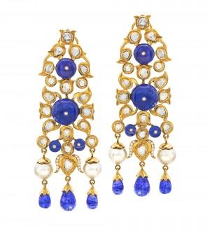 Blue Polki Shape Diamonds Earrings