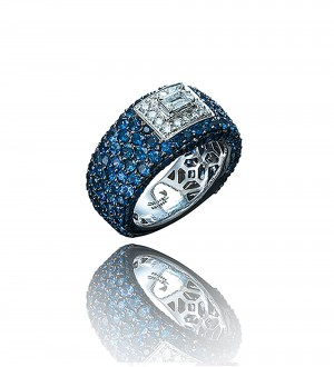 Emerald cut, blue sapphires band