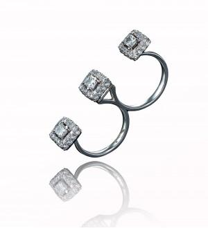 Diamonds two finger ring