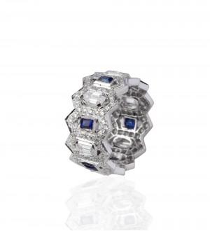 Diamonds sapphire eternity band