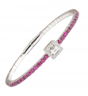 EMERALD CUT STACKABLE BRACELET, RUBY