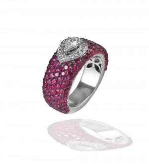 Pear cut diamond, ruby band