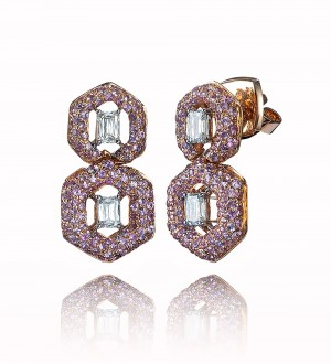 DOUBLE HONEY COMB STUDS, PINK SAPPHIRE