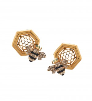 GOLD HONEY COMB STUDS