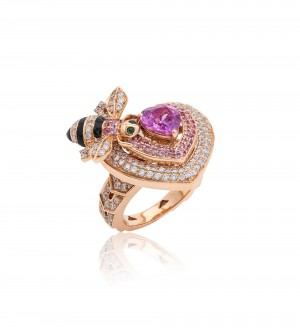 HONEY BEE RING. PINK SAPPHIRE