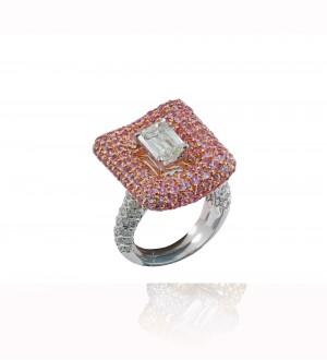 Crisscut pink sapphire ring