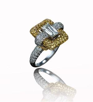 Crisscut yellow sapphire ring