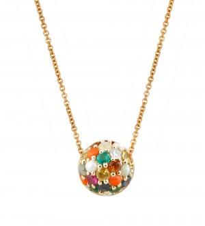 Navratna big ball necklace