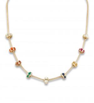 Navratna cube necklace
