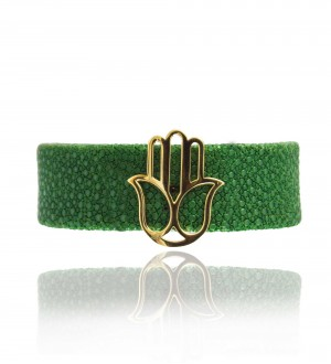 HAMSA BRACELET, GREEN LEATHER