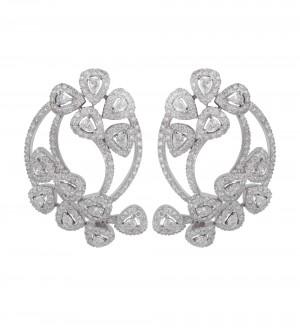 Diamond plume earrings