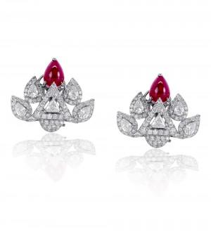 Afghan ruby and diamond studs