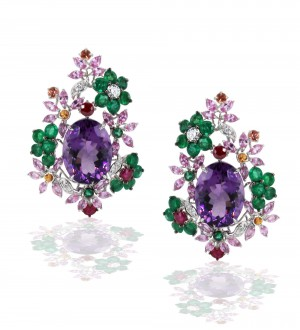 Water lily studs amethyst