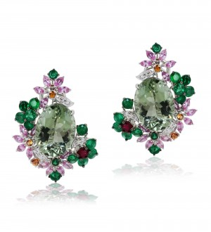 Water lily studs Green amethyst