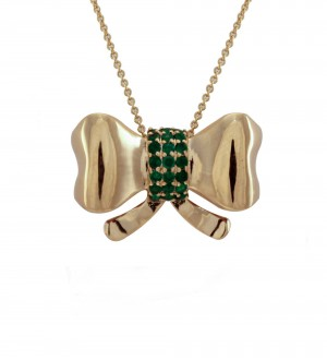 Emerald and yellow gold bow pendant