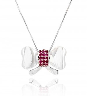 Ruby bow pendant