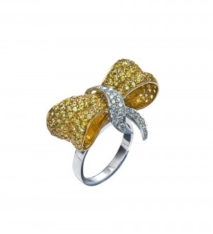 Yellow sapphire Love Knot ring