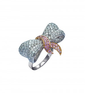 Pink sapphire Love Knot ring
