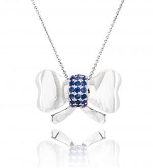 Blue sapphire bow pendant